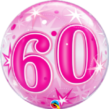 "60 Pink Starburst Bubble Balloon (22"") 1pc"